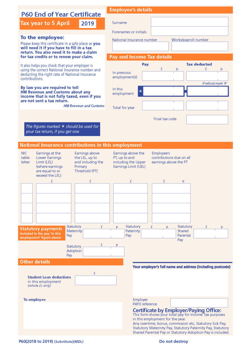 IRIS P60 2018-19. Single or two part forms available.