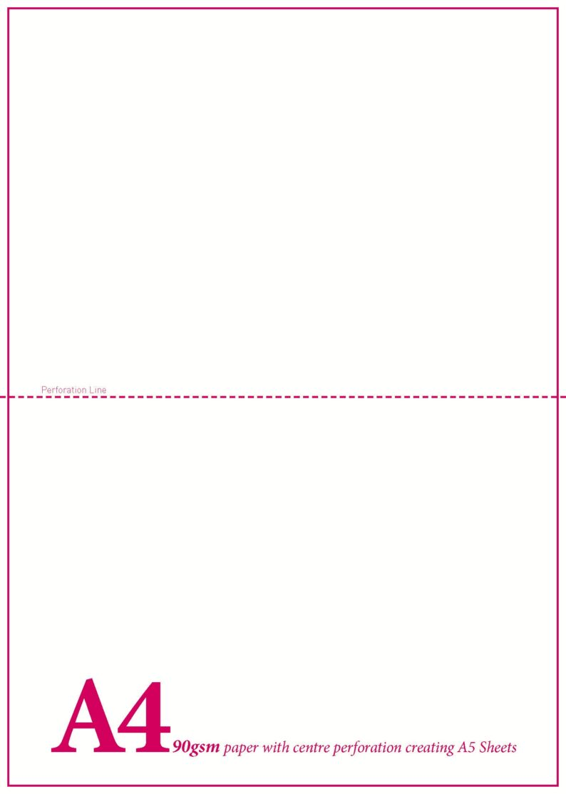 A5 Blank Perf Sheet (10) 90gsm