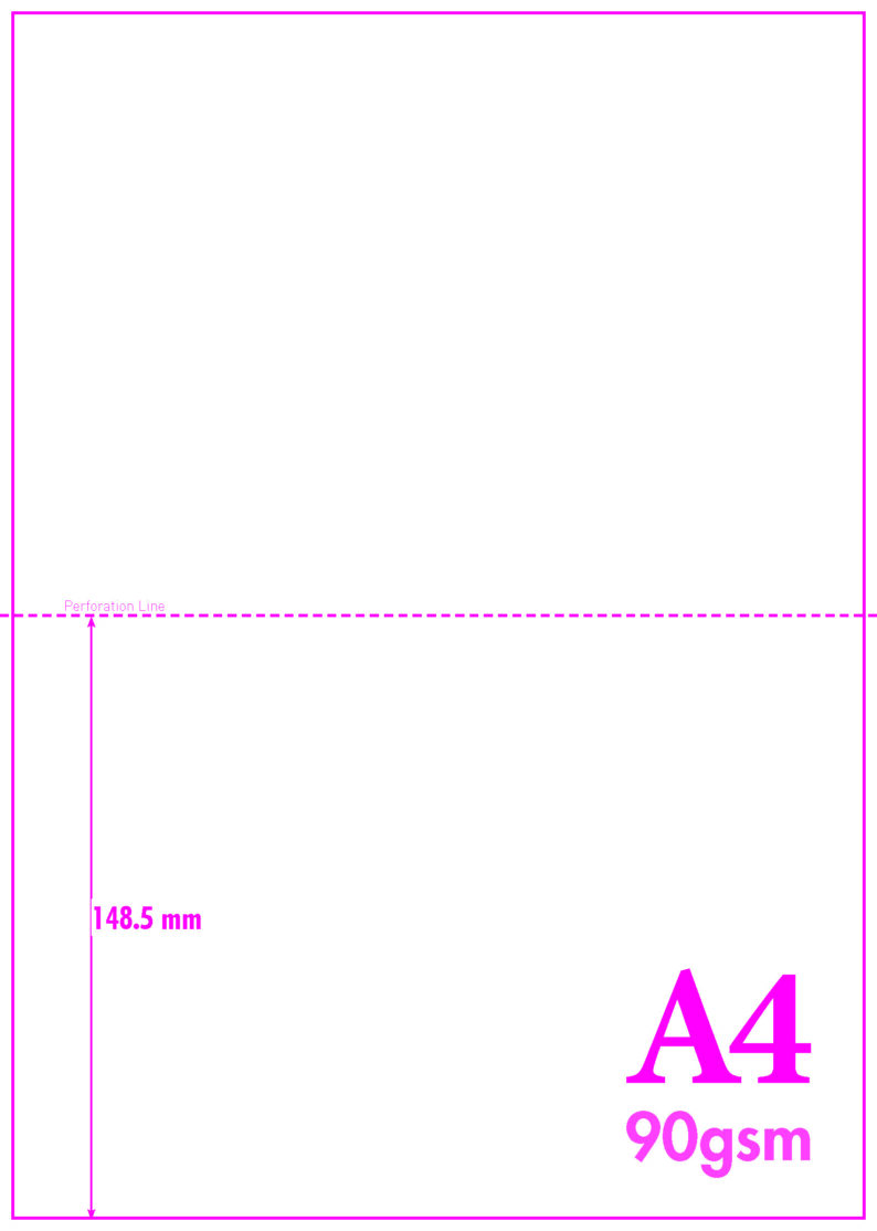 A4 Blank Perf A5 – 90GSM