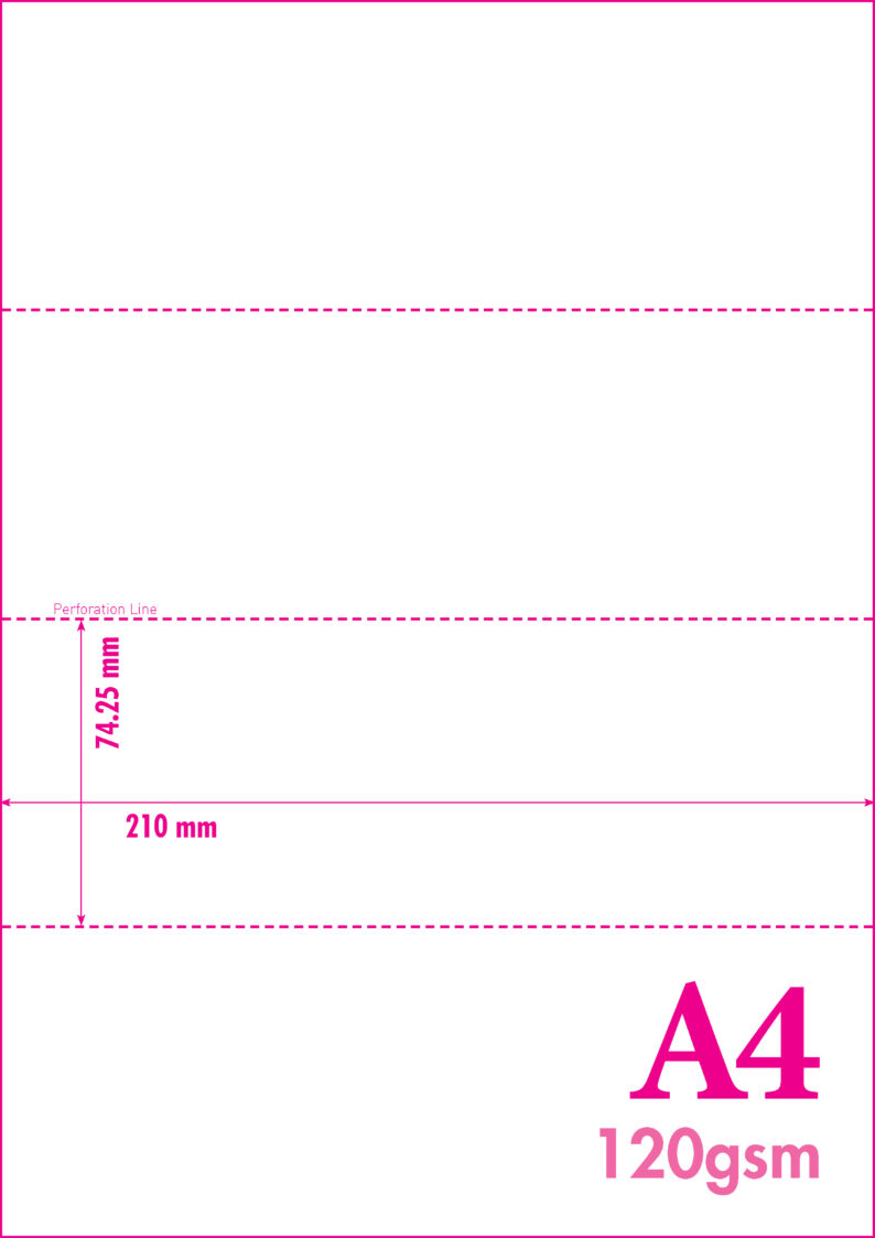 A4 Blank Perf 120gsm 4-4