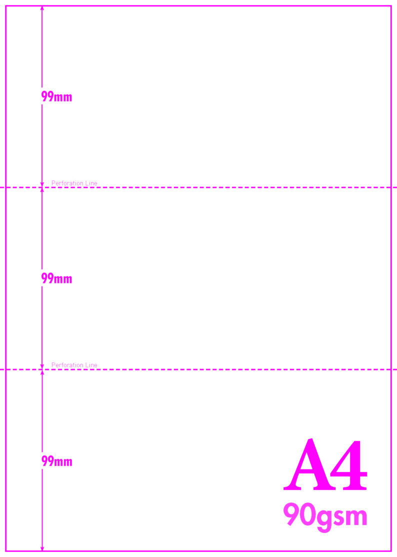 A4 Blank Perf 99mm 198mm 90gsm