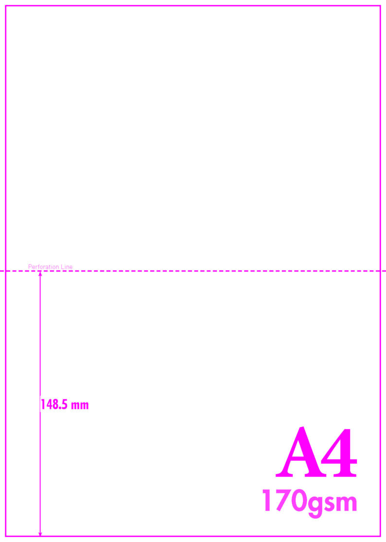 A4 Blank Perf A5 170gsm