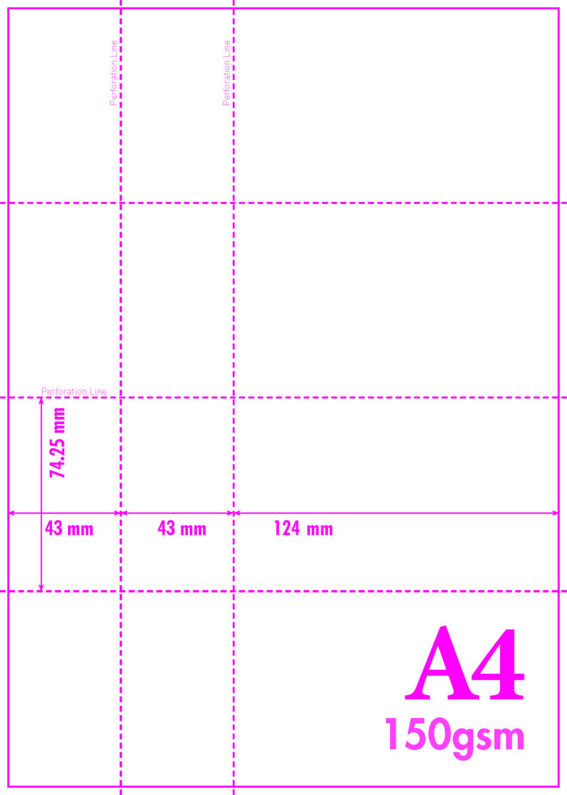 A4 Blank Perf 150gsm 3-4