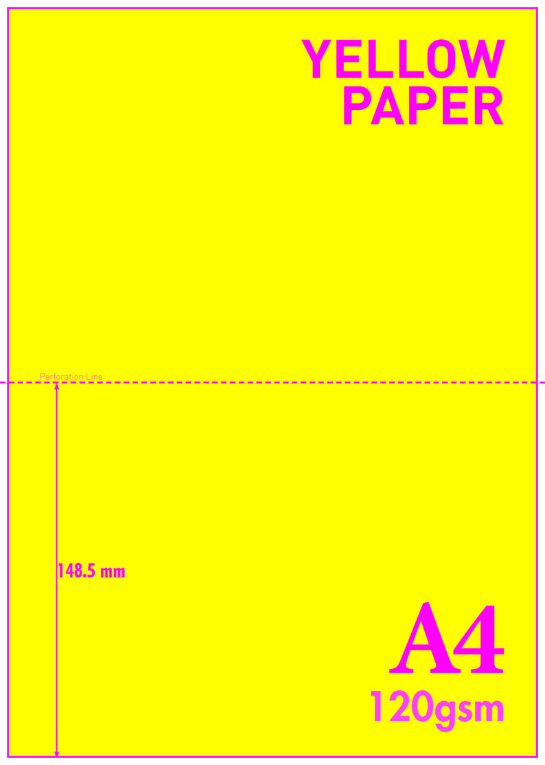 A4 Blank Perf A5 120gsm Yellow