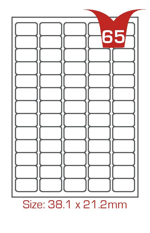 65 Avery Labels per sheet