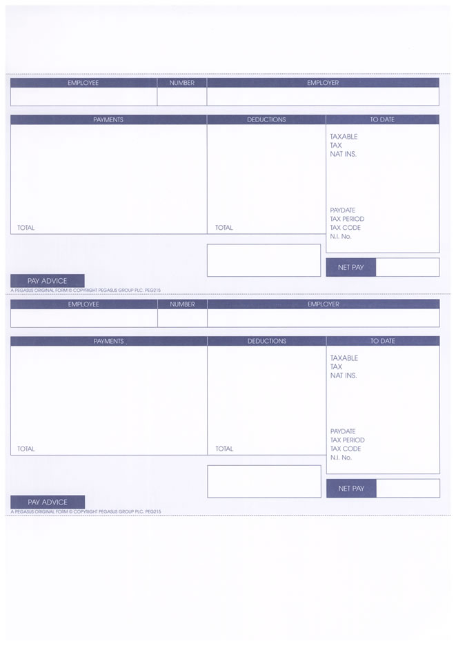 PEGASUS ORIGINAL 1 PART A4 LASER PAYSLIP – 2 PER SHEET