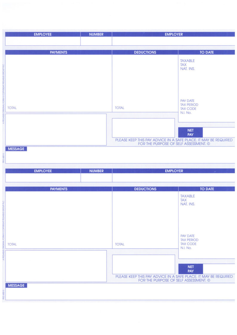 PEG600 - PEGASUS ORIGINAL 1 PART A4 LASER PAYSLIP WITH ADDRESS - 2 PER SHEET