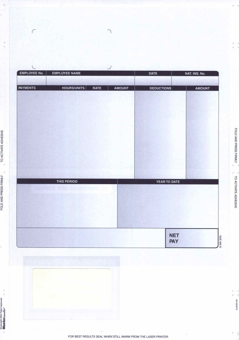 SAGE COMPATIBLE A4 LASER SELF SEAL SECURITY PAYSLIP – PK 500