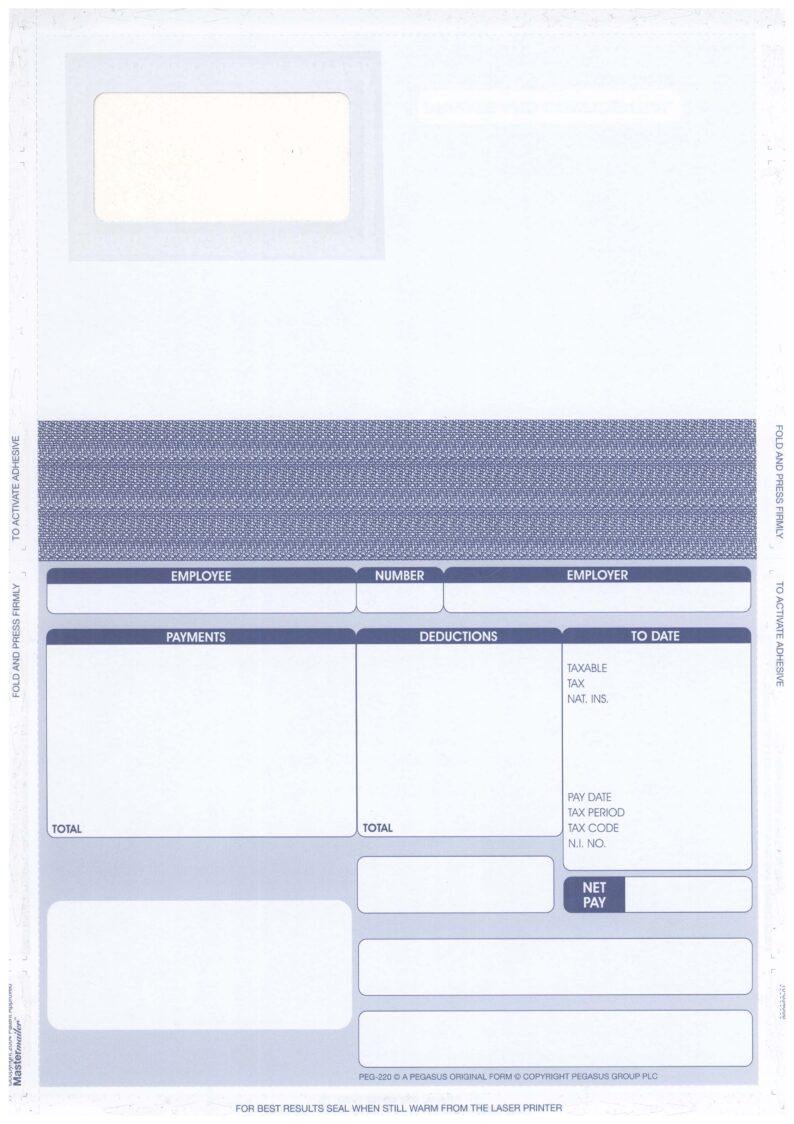 PEG220 ORIGINAL SECURITY PAYSLIP – PACK 4000