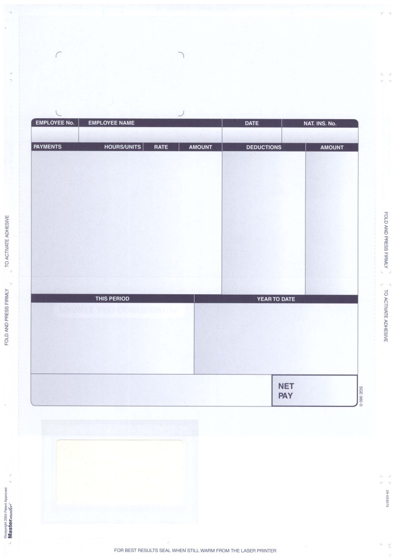 SGE060 SAGE SECURITY PAYSLIPS – LASER